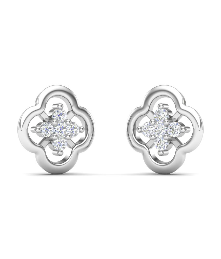 Theme Jewels Casual ER-0038, Certified Real Diamond & 14Kt Hallmarked White Gold Earring