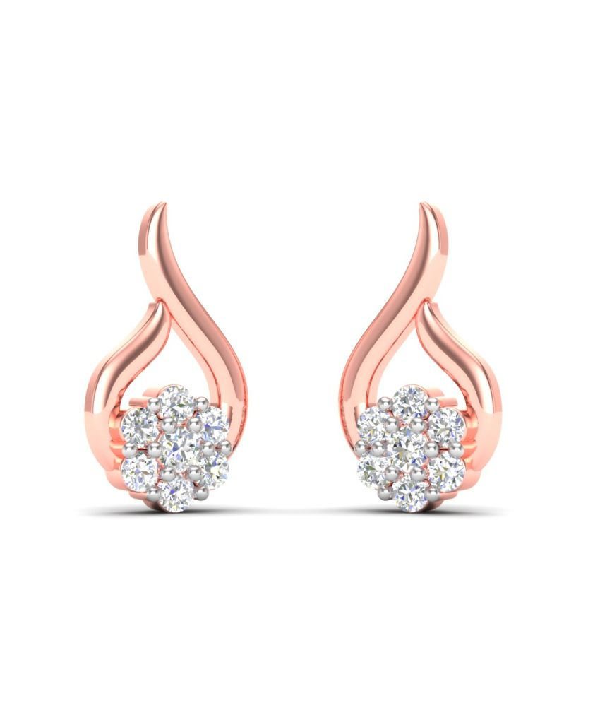 Theme Jewels Casual ER-0024, Certified Real Diamond & 14Kt Hallmarked Rose Gold Earring