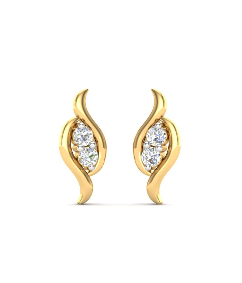 Theme Jewels Casual ER-0006, Certified Real Diamond & 14Kt Hallmarked Yellow Gold Earring