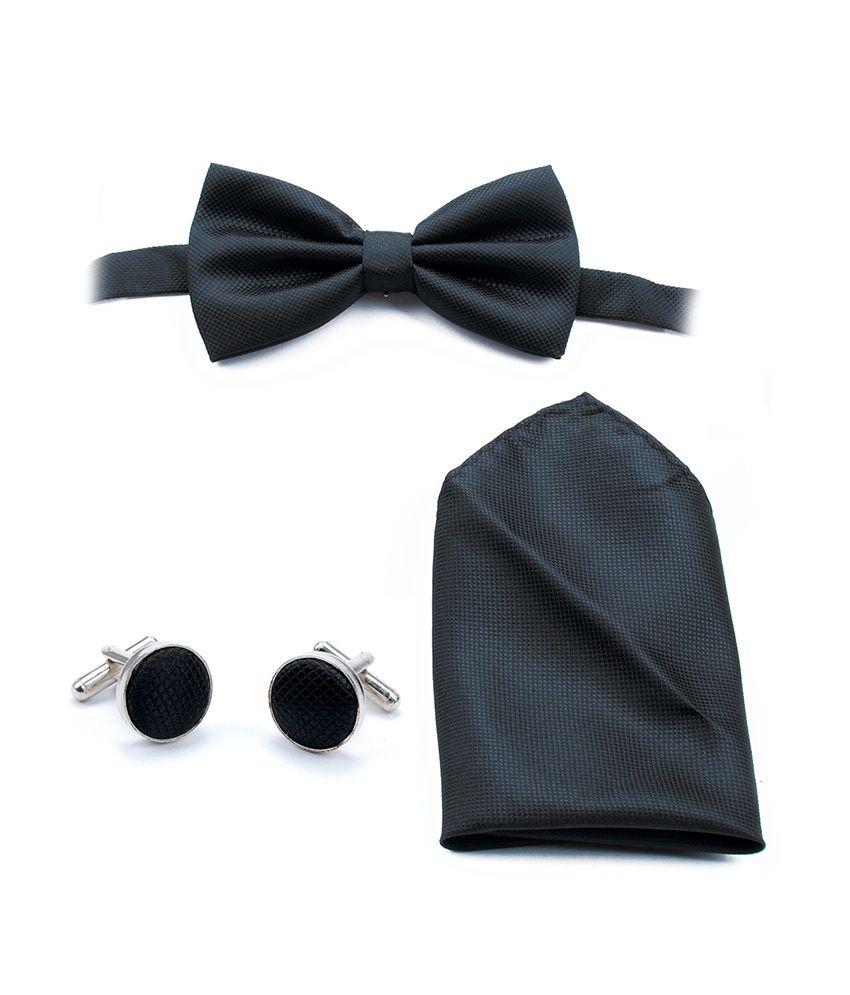 Brooch Black Silk Casual Broad Ties With Cufflinks, Handkerchief - Set Of 3