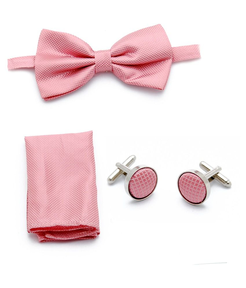 Brooch Pink Silk Casual Broad Ties With Cufflinks, Handkerchief - Set Of 3