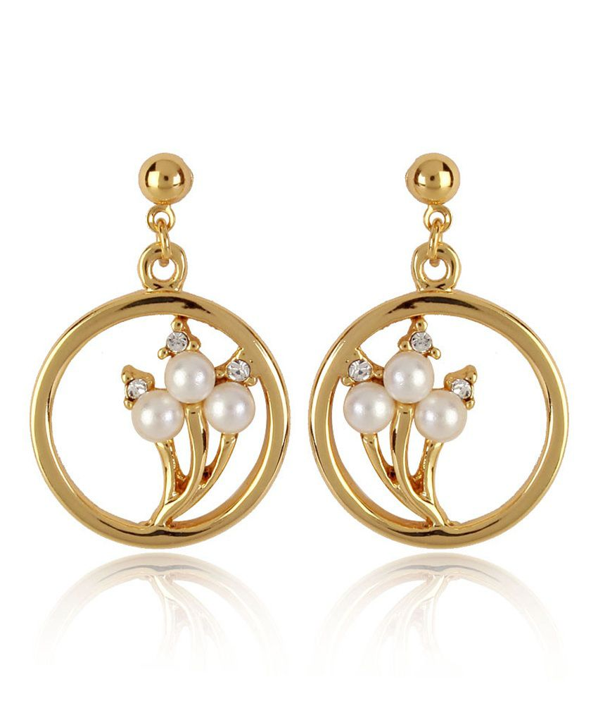 Estelle Golden Alloy Antique Crystal Hoop Earrings