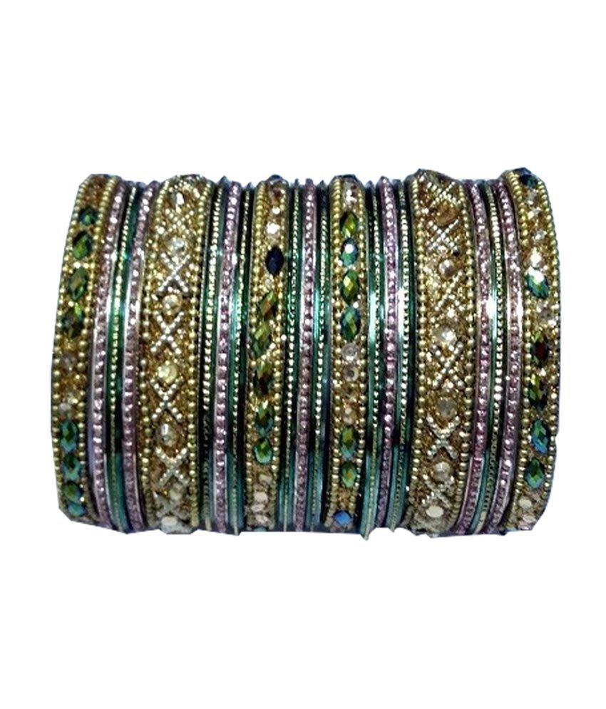Stallions Green Antique Party Wear Bangles