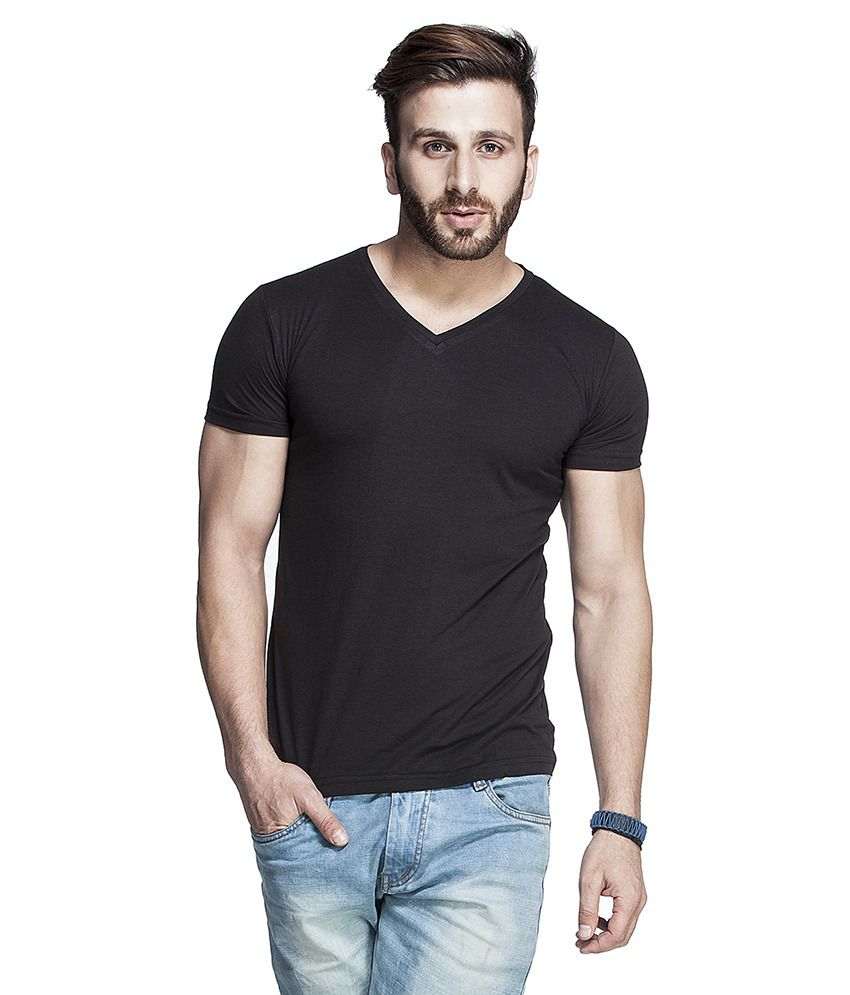 Tinted Black Cotton Blend Half Sleeves T Shirt