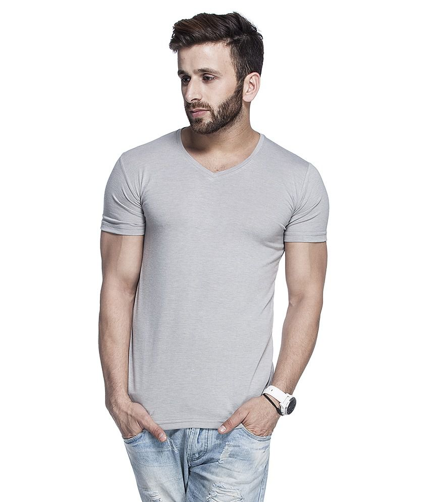 Tinted Gray Cotton Blend Half Sleeves T Shirt