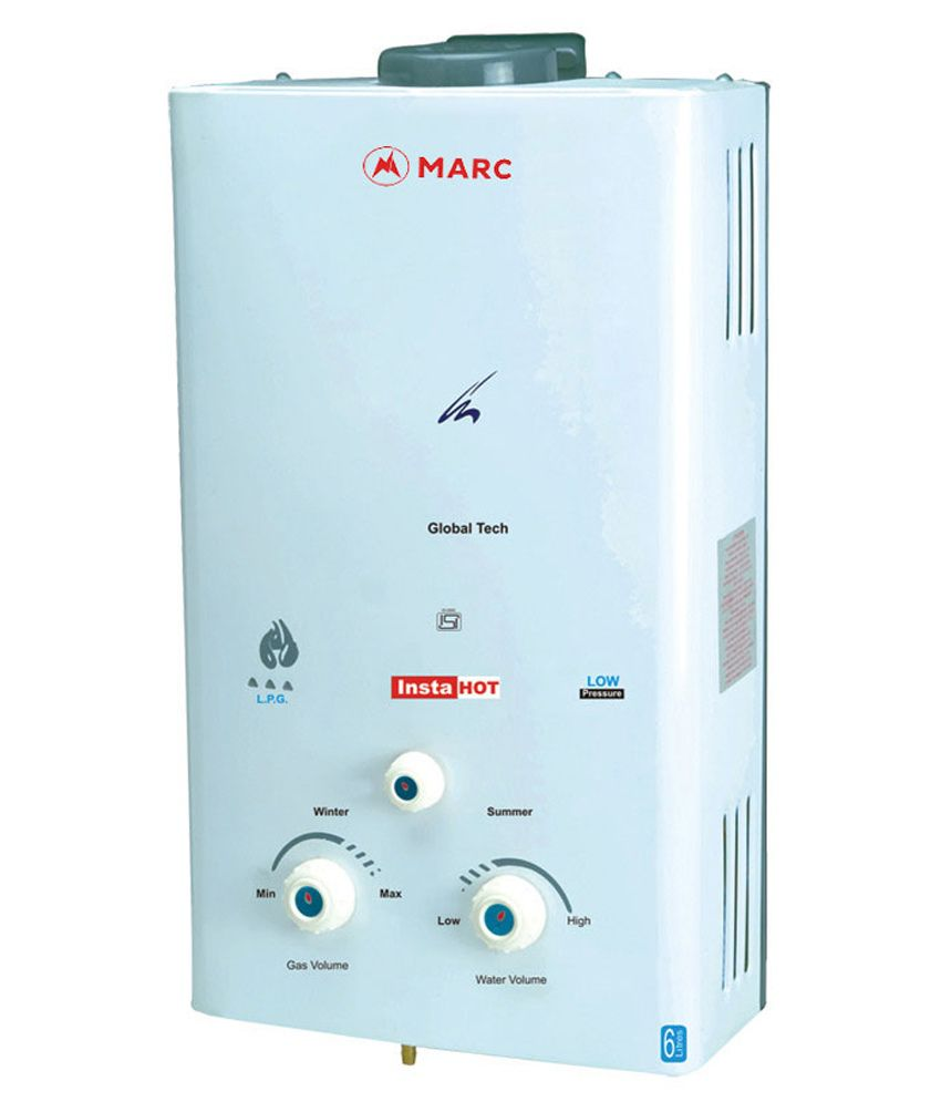 marc 6 gas water heater 6 l vertical gas geyser white price in india