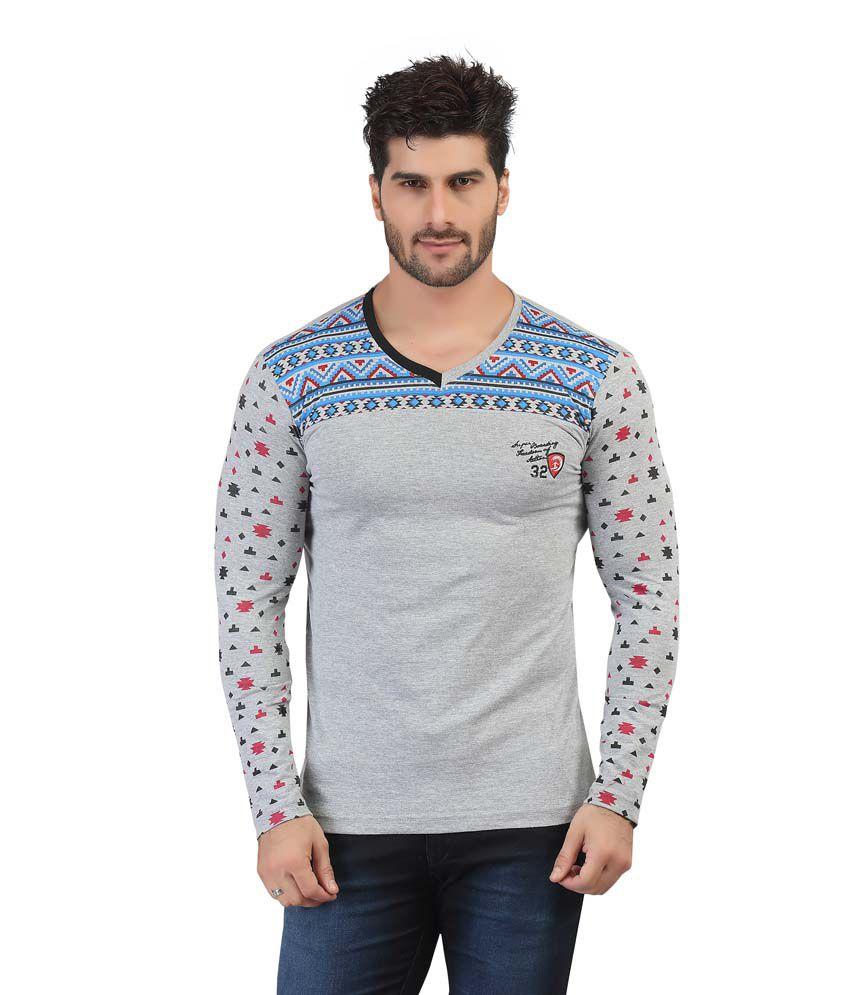 Purple Haze Gray Cotton Printed V-Neck T-Shirt