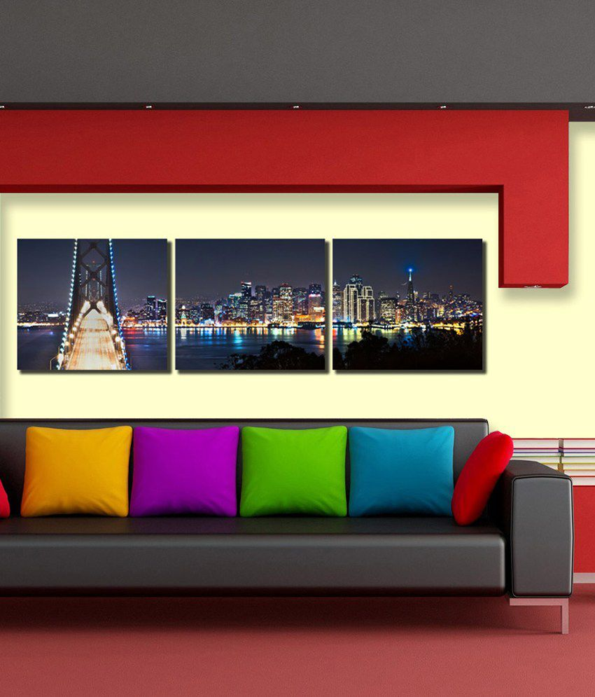 999Store Glossy Paintings With Frame Set of 3