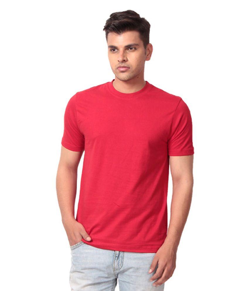Derby Jeans Community Red Round Neck Cotton Half Sleeves T Shirt