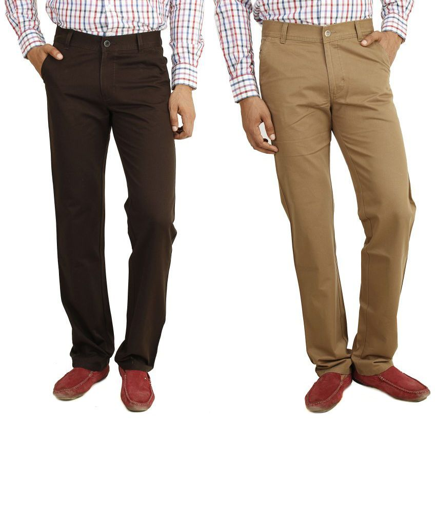 Eprilla Combo Of Brown And Tan Cotton Chinos