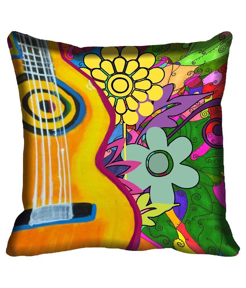 MeSleep Multicolour Satin Abstract Design Digital Printed Cushion Cover