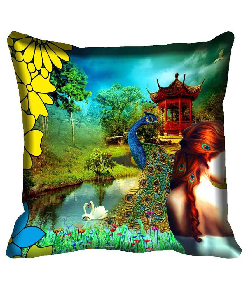MeSleep Multicolour Satin Natural Design Digital Printed Cushion Cover