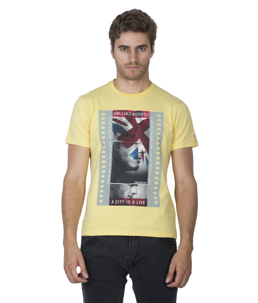 Octave Yellow Cotton Printed T Shirt