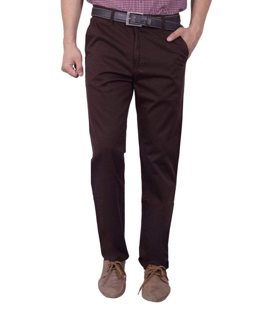 Studio Nexx Brown Cotton Lycra Regular Fit Trouser For Men
