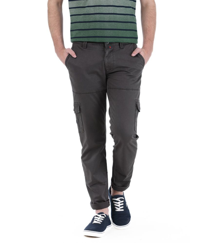 Basics Gray Cotton Blend Cargos