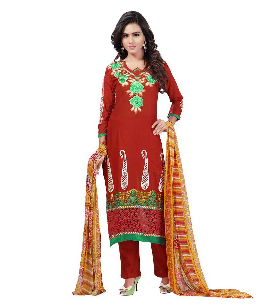 Celestial Orange Cotton Unstitched Dress Material