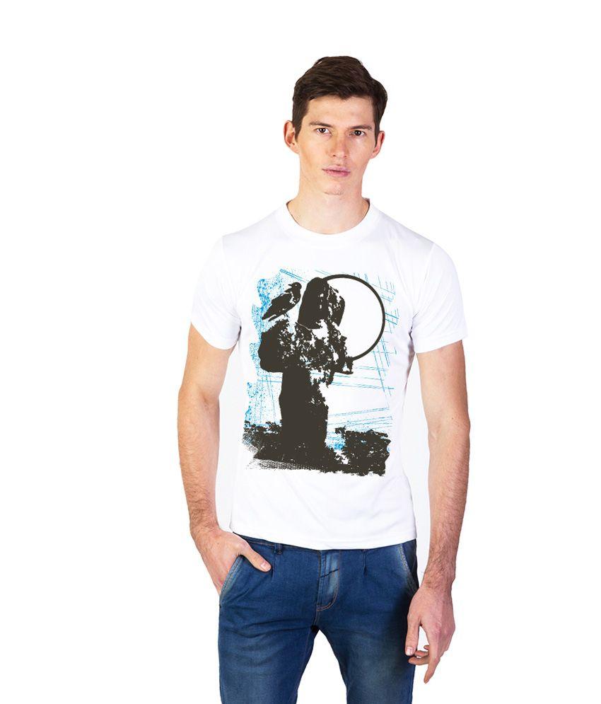 Effit White Cotton Half Sleeve Round Neck T-Shirt