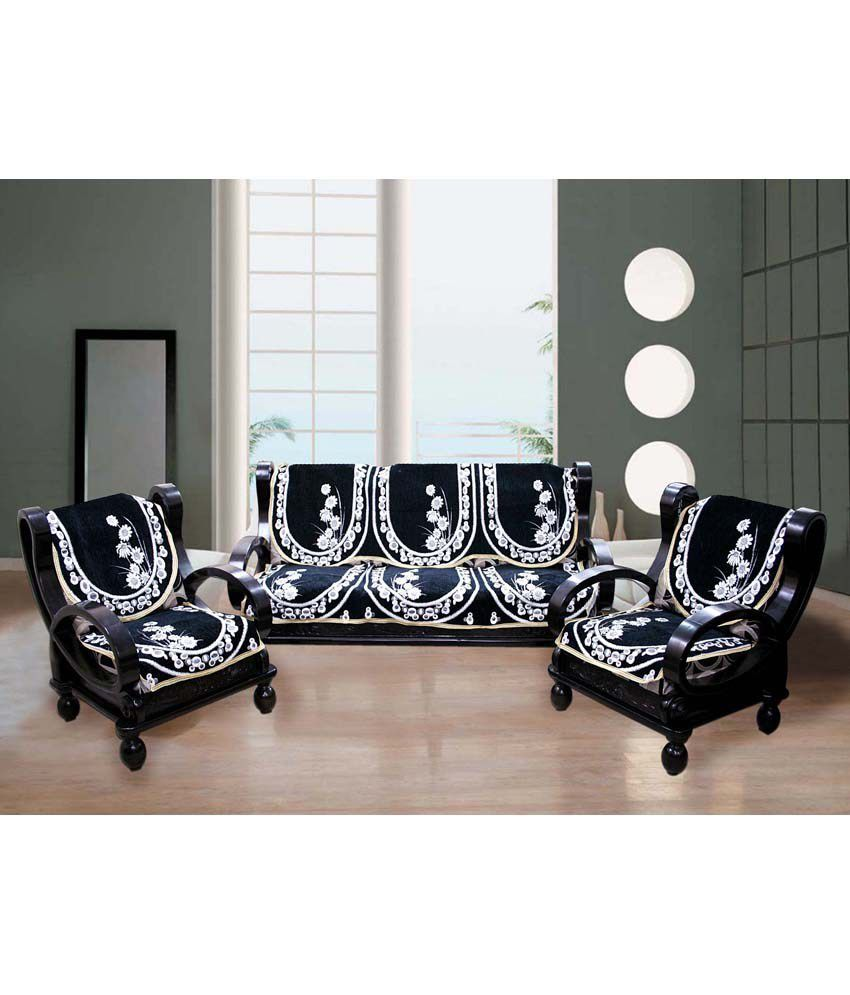 Fk White And Black Fl Sofa Cover Jumbo Fur Stools Set Of 2