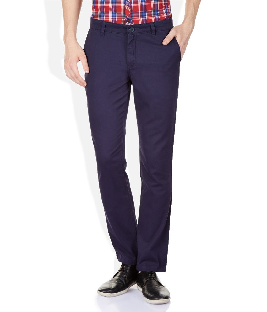 John Players Navy Regular Fit Trousers