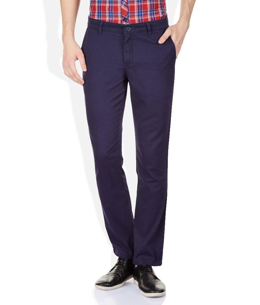 John Players Navy Regular Fit Trousers