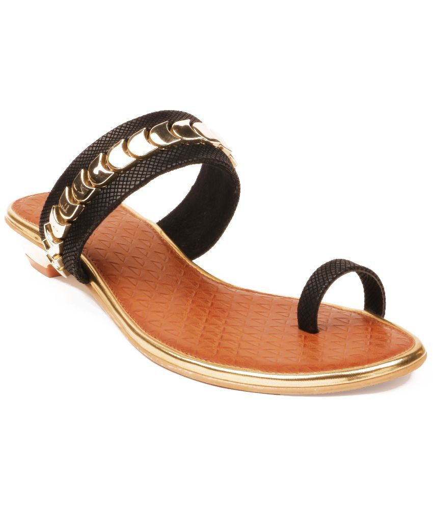 Liza Synthetic Black Flat Slip On