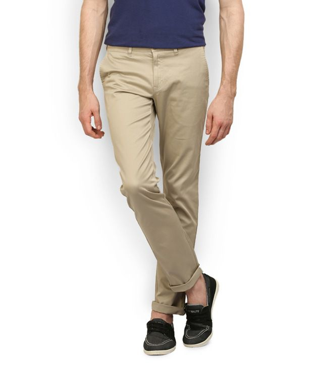 Stagger Polo Beige Cotton Regular Fit Casual Trouser