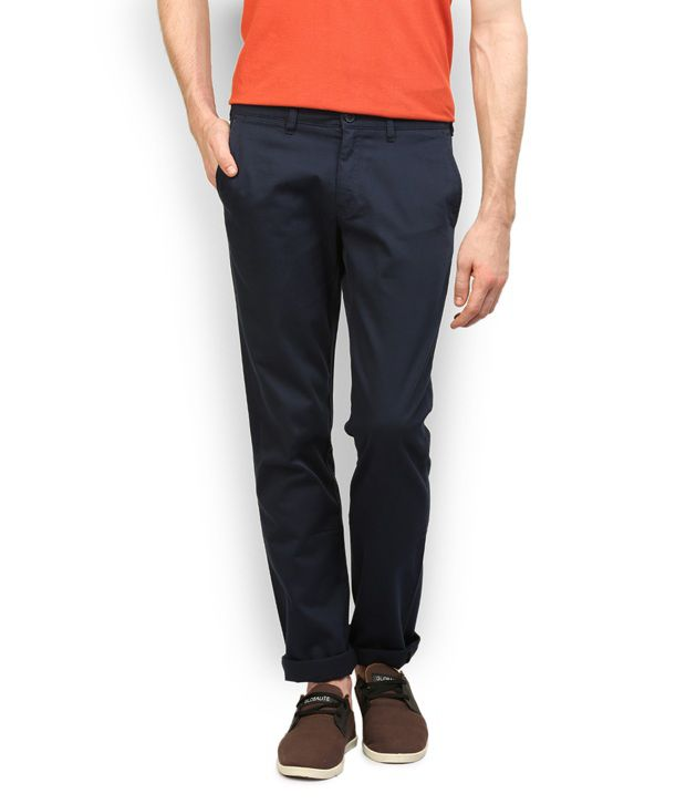 Stagger Polo Navy Cotton Regular Fit Casual Trouser