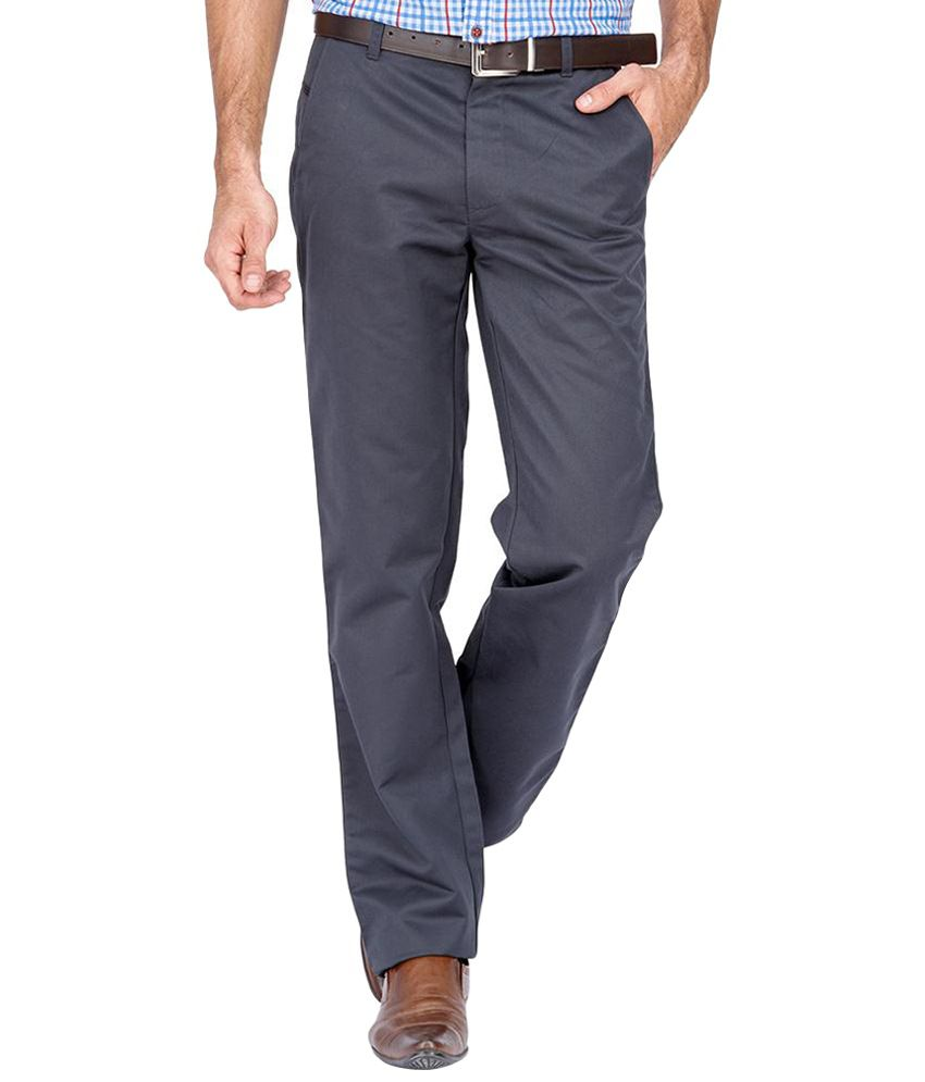 Urban Nomad Gray Cotton Trousers for Men