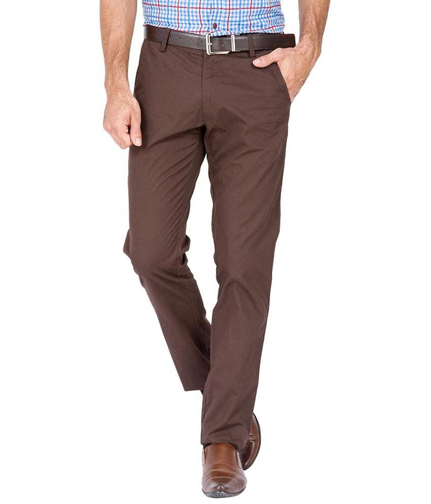 Urban Nomad Voguish Brown Cotton Trousers for Men