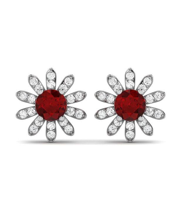Ciemme Floral Shape Red Ruby Women CZ Gemstone Earrings in 925 Sterling Silver