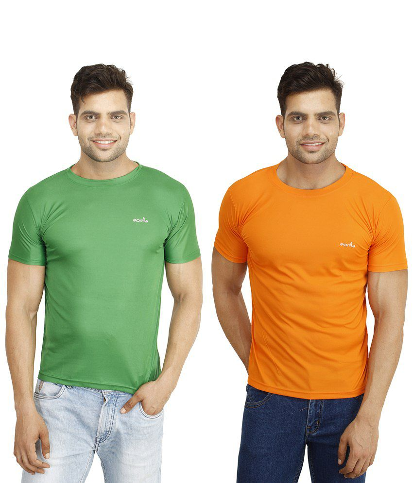 Eprilla Pack of 2 Orange & Green T Shirts for Men