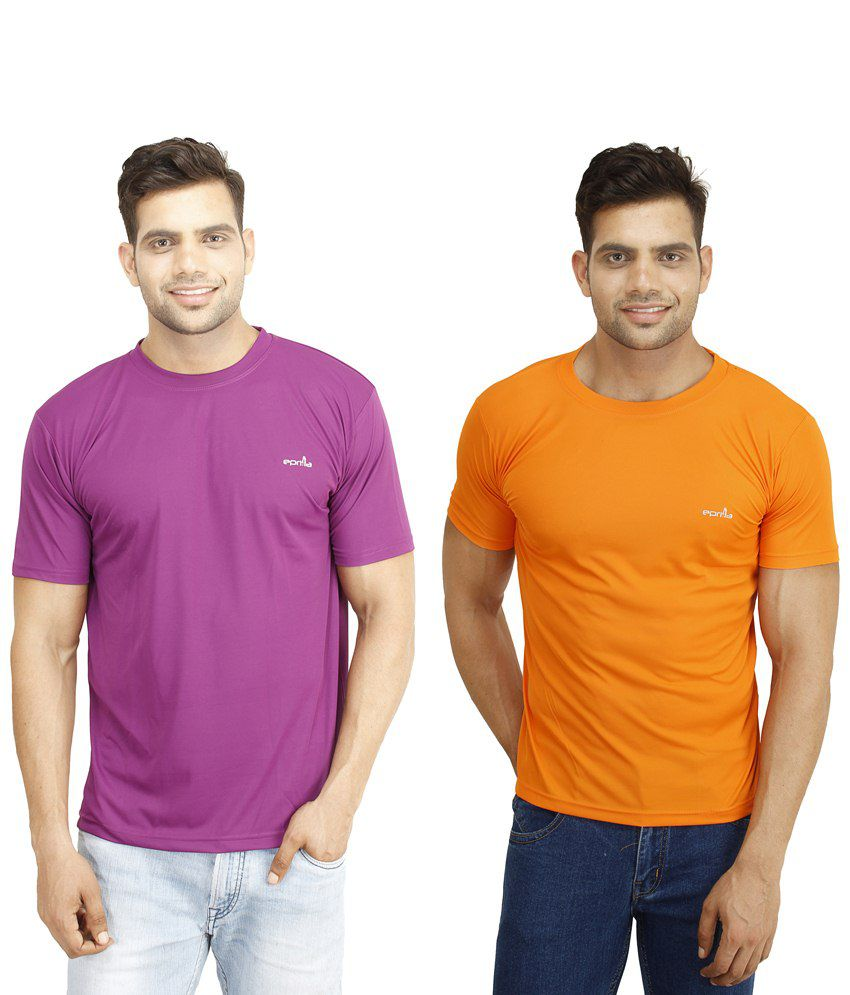 Eprilla Pack of 2 Purple & Orange T Shirts for Men