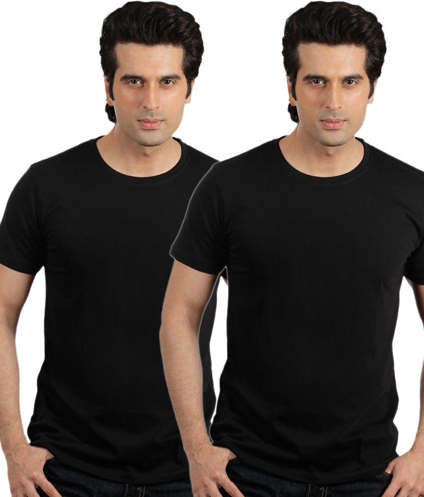 Espana Black Cotton Round Neck T-shirt - Pack Of 2