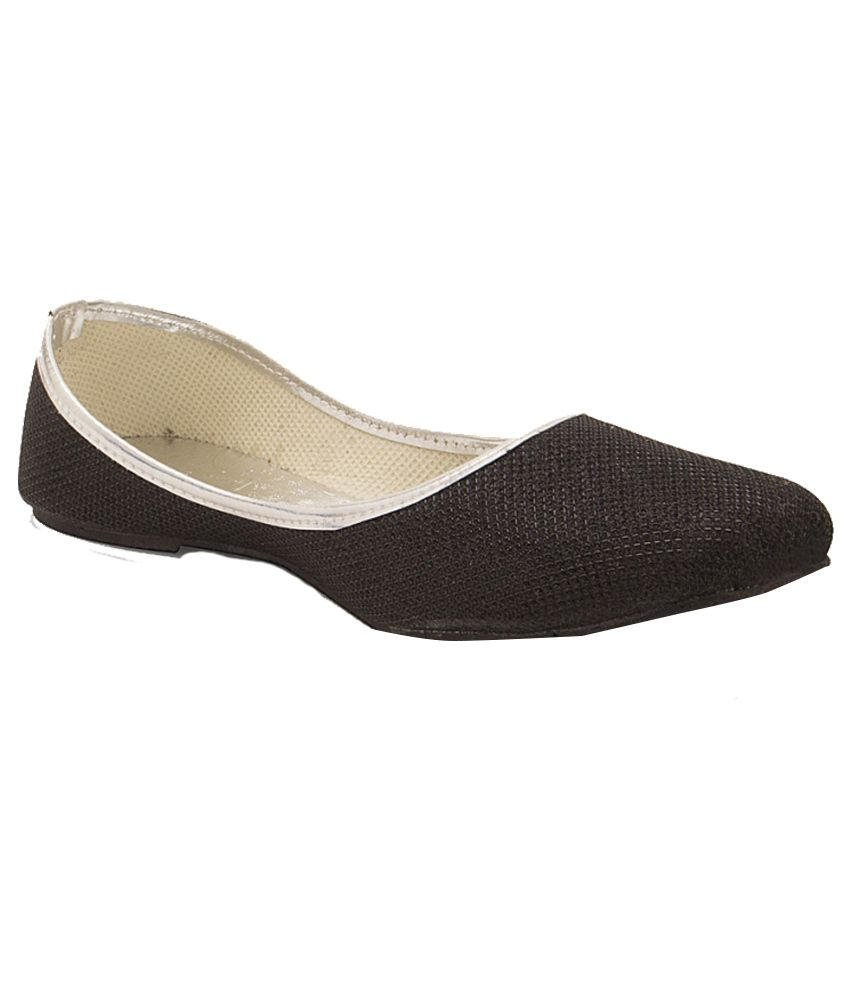 Little India Black Faux Leather Flat Pointed Toe Ballerinas