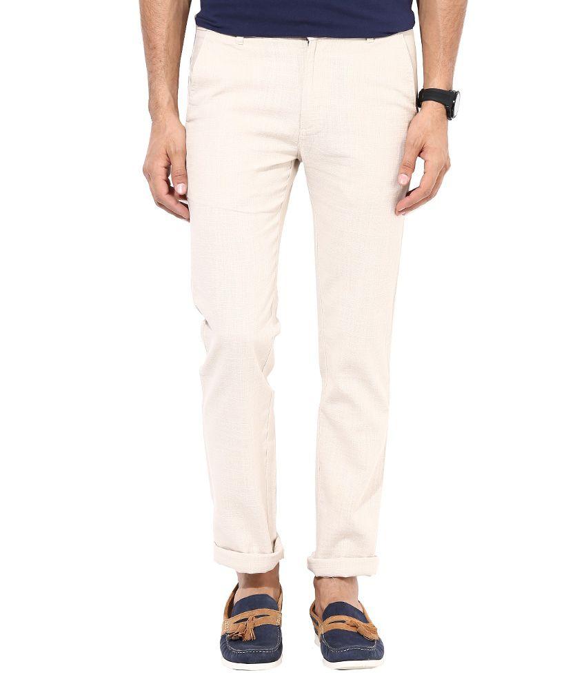 Monteil & Munero Beige Linen Flat Trousers