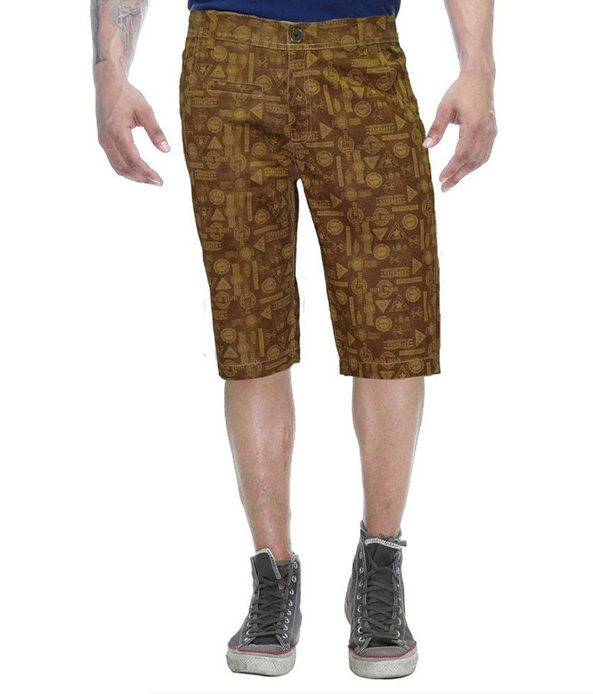Clickroo Brown Cotton Printed Shorts