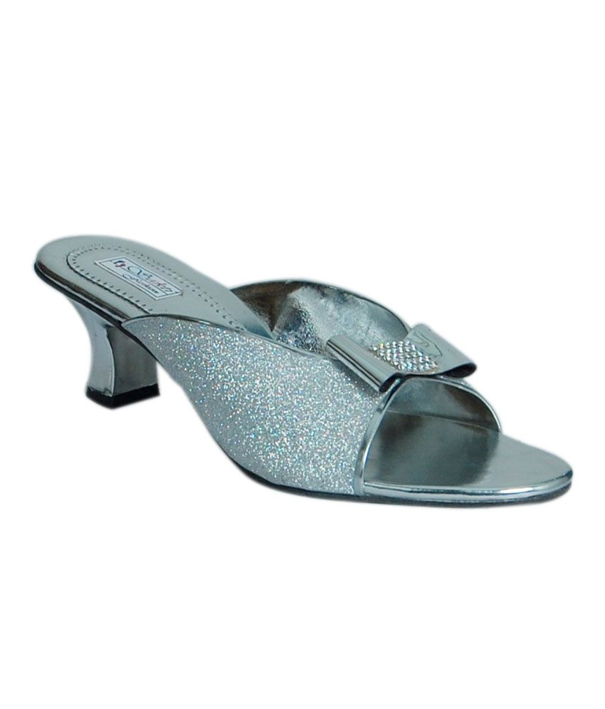 JIPSI Silver Faux Leather Heeled Slip-on