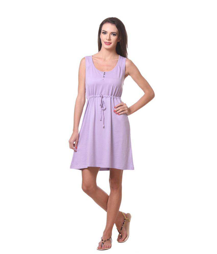 Kotty Purple Cotton Lycra Dresses