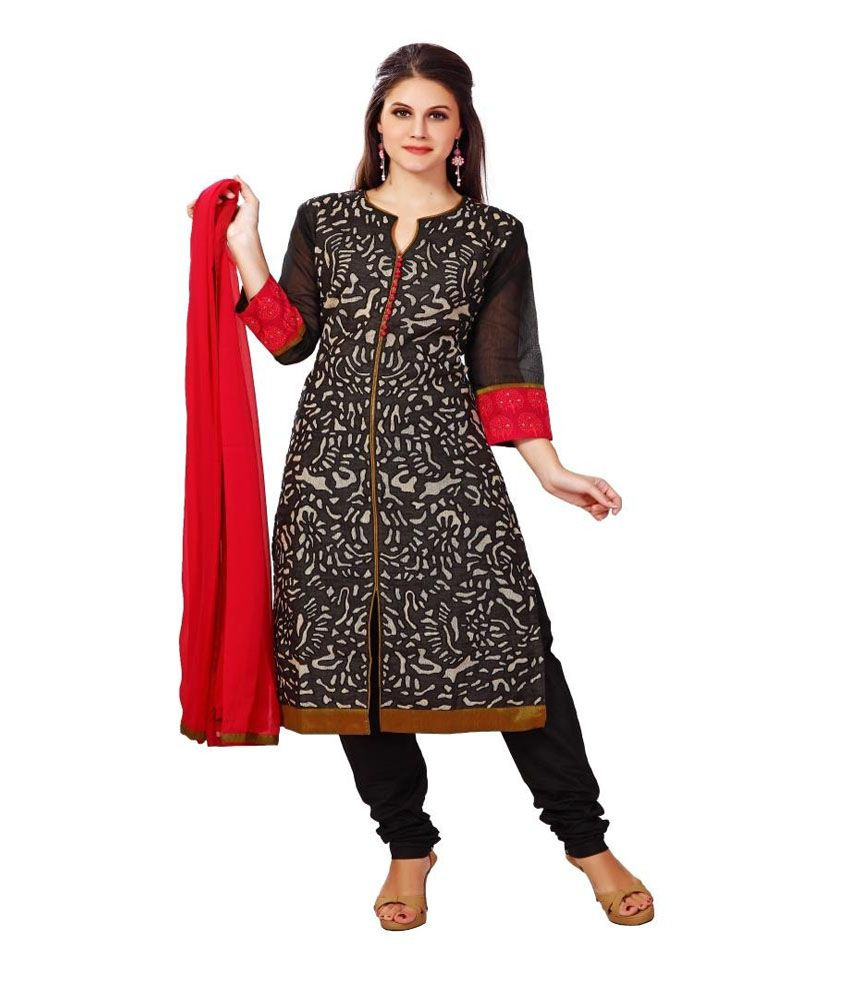 Lucky Infra Grey and Black Art Silk Unstitched Dress Material