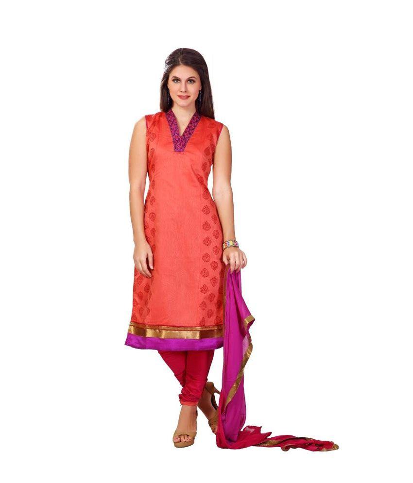 Lucky Infra Orange Art Silk Unstitched Dress Material