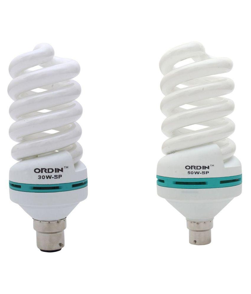 Ordin White 30 Watt And 50 Watt Spiral Cfls - Pack Of 2