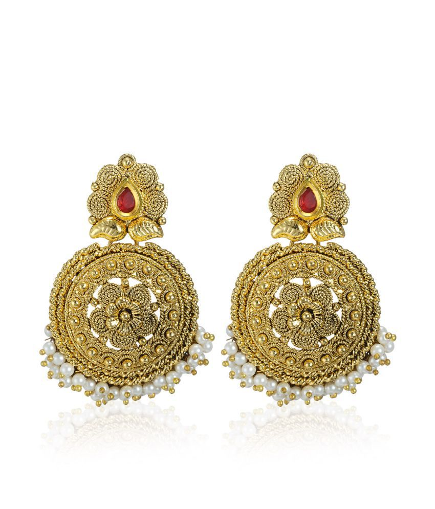 Zaveri Pearls Gold Alloy Hangings Earring