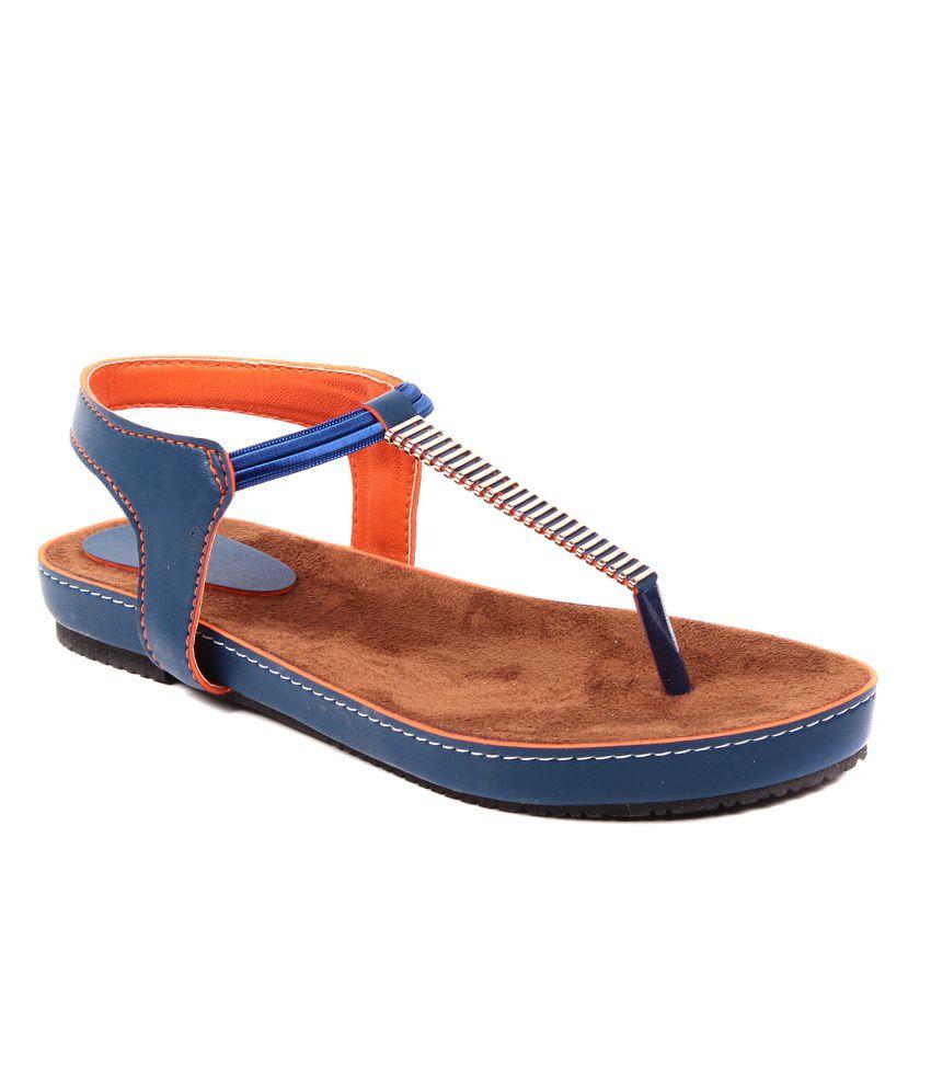 Dezire Blue Faux Leather Sandals