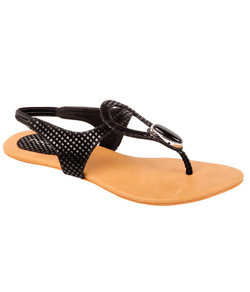 Nector Black Faux Leather Flat Sandal For Women