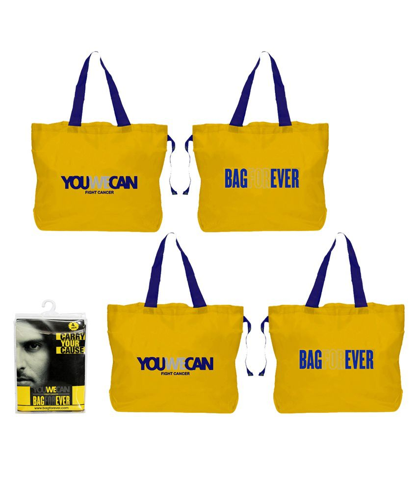 9aa98e692 Pack of 4 Bagforever Youwecan Yellow Shopping Bag - Buy Pack of 4 Bagforever  Youwecan Yellow Shopping Bag Online at Low Price - Snapdeal