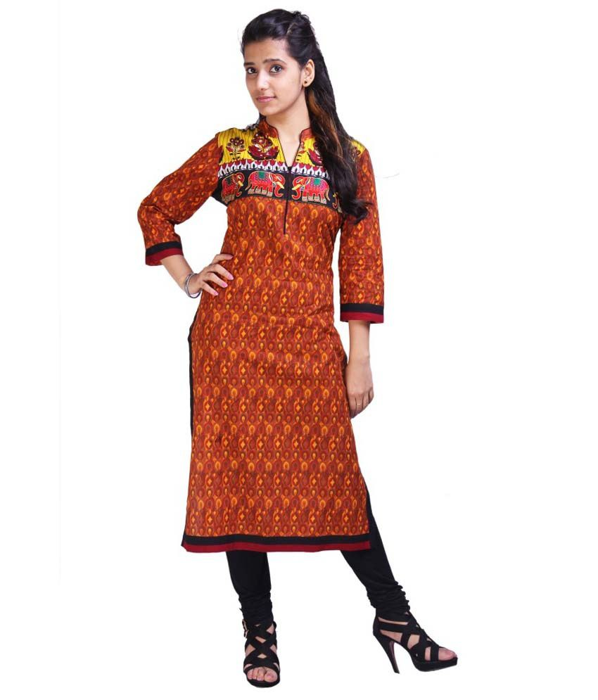 Regards Fashion Brown Cotton Kurti