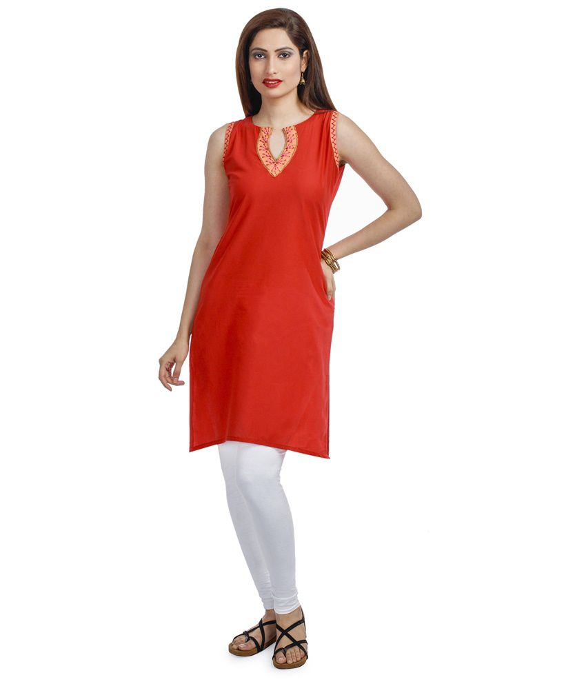 Chhori Red Cotton Kurti