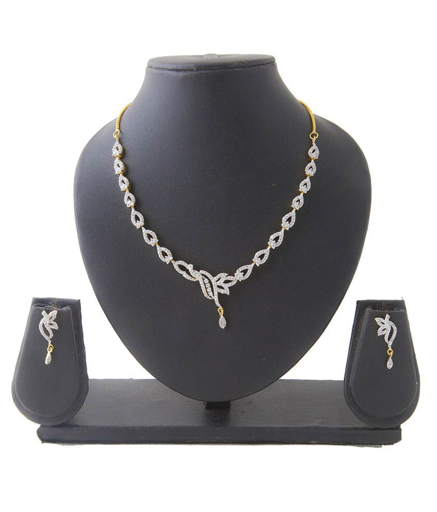 Aaina White American Diamond Necklace Set