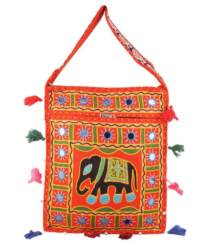 Eminence Orange Rajasthani Embroidered Elephant Traditional Sling