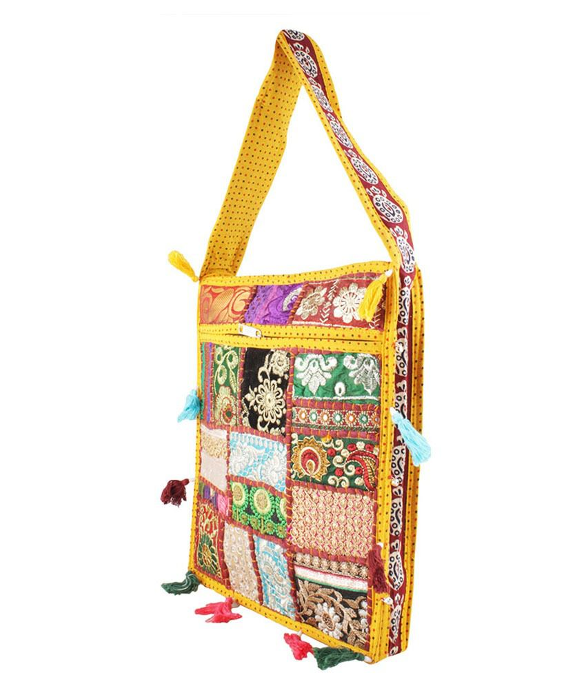 Eminence Yellow Rajasthani Embroidered Traditional Sling Bag - Buy ...